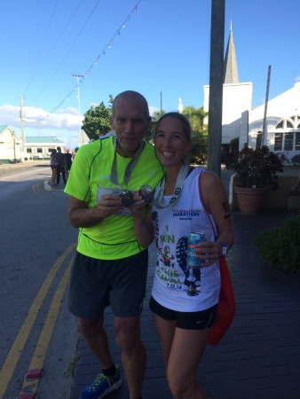 Hanging with Bart Yasso at the finish line of the Cayman Islands Half Marathon