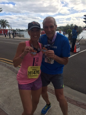 Hanging with Bart Yasso at the finish line of the Bermuda Half Marathon