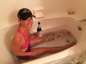 An ice bath and an ice-cold beverage after a long run is a good idea!