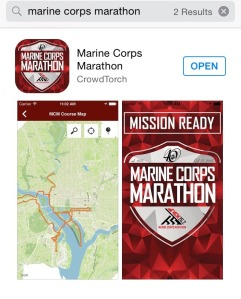Search for the Marine Corps Marathon app in the app store.