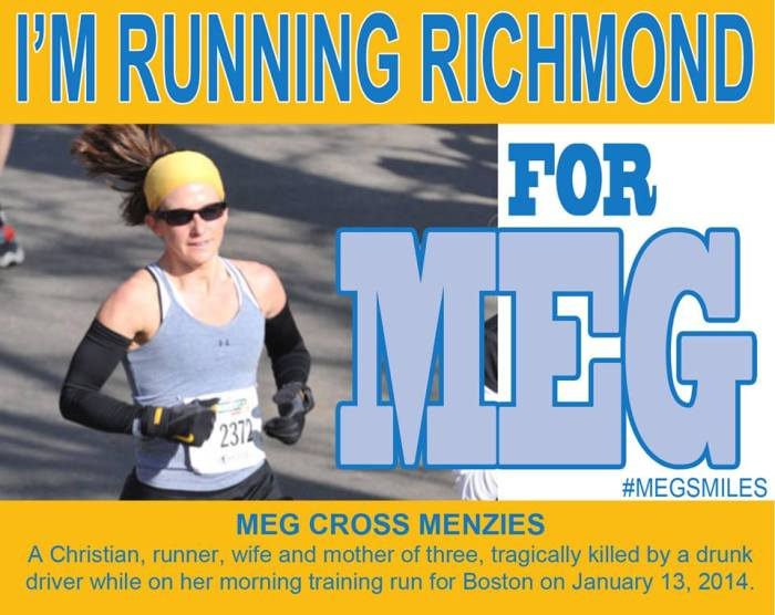 The back bib that MegsMiles members will wear at the Richmond 8K, Half Marathon and Marathon on November 14, 2015.
