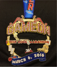 Largest medal for a race is at Little Rock. The marathon medal is the size of a dinner plate!