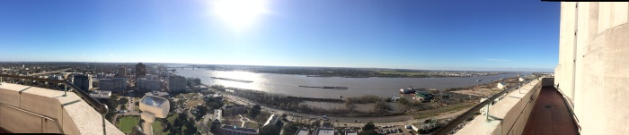 Panorama of Baton Rouge/the Mississippi from the State Capitol Building