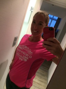 Marathon shirt in bright pink! Just my style.