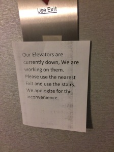 Not the sign you want to see the day before a marathon - when you are on the ninth floor.