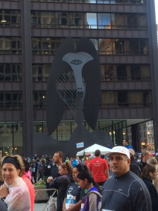 Picasso sculpture at the Daley Plaza; the inspiration for our finishers medal
