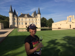 Enjoying some wine while running the Marathon du Medoc, Bordeaux, France.