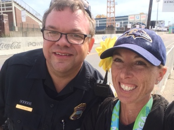Saying hi to Officer John after the race