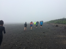 Foggy run across the beach in Lubec